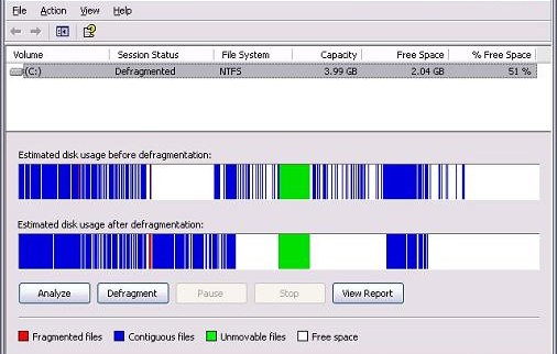 Disk Defragmenter دیفراگمنت xp